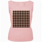 HOUNDSTOOTH2 BLACK MARBLE & BEIGE LINEN Women s Pink Tank Top