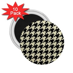 Houndstooth2 Black Marble & Beige Linen 2 25  Magnets (10 Pack)  by trendistuff