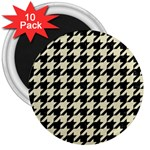 HOUNDSTOOTH2 BLACK MARBLE & BEIGE LINEN 3  Magnets (10 pack)