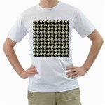 HOUNDSTOOTH2 BLACK MARBLE & BEIGE LINEN Men s T-Shirt (White) (Two Sided)