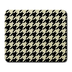 Houndstooth2 Black Marble & Beige Linen Large Mousepads by trendistuff