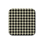 HOUNDSTOOTH2 BLACK MARBLE & BEIGE LINEN Rubber Square Coaster (4 pack)
