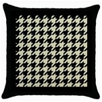 HOUNDSTOOTH2 BLACK MARBLE & BEIGE LINEN Throw Pillow Case (Black)