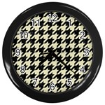 HOUNDSTOOTH2 BLACK MARBLE & BEIGE LINEN Wall Clocks (Black)