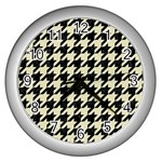 HOUNDSTOOTH2 BLACK MARBLE & BEIGE LINEN Wall Clocks (Silver)