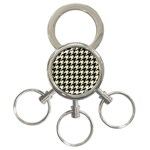 HOUNDSTOOTH2 BLACK MARBLE & BEIGE LINEN 3-Ring Key Chains