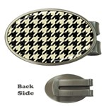 HOUNDSTOOTH2 BLACK MARBLE & BEIGE LINEN Money Clips (Oval)