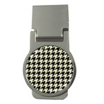 HOUNDSTOOTH2 BLACK MARBLE & BEIGE LINEN Money Clips (Round)