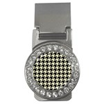 HOUNDSTOOTH2 BLACK MARBLE & BEIGE LINEN Money Clips (CZ)