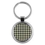 HOUNDSTOOTH2 BLACK MARBLE & BEIGE LINEN Key Chains (Round)