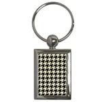 HOUNDSTOOTH2 BLACK MARBLE & BEIGE LINEN Key Chains (Rectangle)