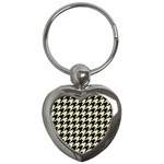 HOUNDSTOOTH2 BLACK MARBLE & BEIGE LINEN Key Chains (Heart)