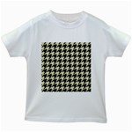 HOUNDSTOOTH2 BLACK MARBLE & BEIGE LINEN Kids White T-Shirts