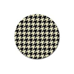 Houndstooth2 Black Marble & Beige Linen Magnet 3  (round) by trendistuff