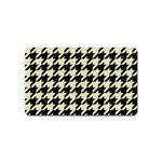 HOUNDSTOOTH2 BLACK MARBLE & BEIGE LINEN Magnet (Name Card)