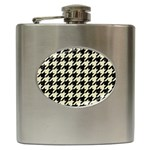 HOUNDSTOOTH2 BLACK MARBLE & BEIGE LINEN Hip Flask (6 oz)