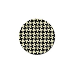 Houndstooth2 Black Marble & Beige Linen Golf Ball Marker by trendistuff