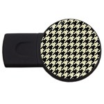 HOUNDSTOOTH2 BLACK MARBLE & BEIGE LINEN USB Flash Drive Round (2 GB)