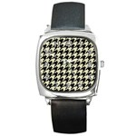 HOUNDSTOOTH2 BLACK MARBLE & BEIGE LINEN Square Metal Watch