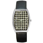 HOUNDSTOOTH2 BLACK MARBLE & BEIGE LINEN Barrel Style Metal Watch