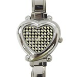 HOUNDSTOOTH2 BLACK MARBLE & BEIGE LINEN Heart Italian Charm Watch