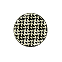 Houndstooth2 Black Marble & Beige Linen Hat Clip Ball Marker (10 Pack) by trendistuff