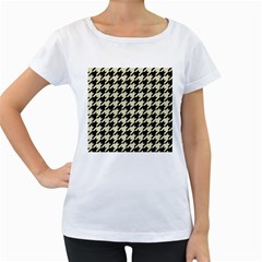 Houndstooth2 Black Marble & Beige Linen Women s Loose Fit T Shirt (white) by trendistuff