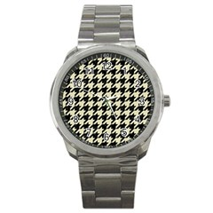 Houndstooth2 Black Marble & Beige Linen Sport Metal Watch by trendistuff