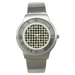 Houndstooth2 Black Marble & Beige Linen Stainless Steel Watch by trendistuff