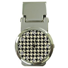 Houndstooth2 Black Marble & Beige Linen Money Clip Watches by trendistuff