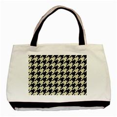 Houndstooth2 Black Marble & Beige Linen Basic Tote Bag by trendistuff