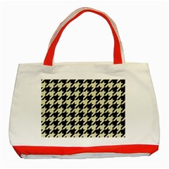 Houndstooth2 Black Marble & Beige Linen Classic Tote Bag (red) by trendistuff