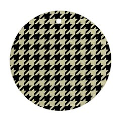 Houndstooth2 Black Marble & Beige Linen Round Ornament (two Sides) by trendistuff