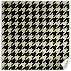 Houndstooth2 Black Marble & Beige Linen Canvas 12  X 12   by trendistuff