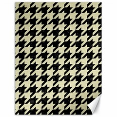 Houndstooth2 Black Marble & Beige Linen Canvas 18  X 24   by trendistuff