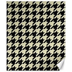 Houndstooth2 Black Marble & Beige Linen Canvas 20  X 24   by trendistuff