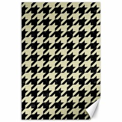 Houndstooth2 Black Marble & Beige Linen Canvas 24  X 36  by trendistuff