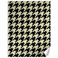 Houndstooth2 Black Marble & Beige Linen Canvas 36  X 48   by trendistuff