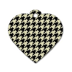 Houndstooth2 Black Marble & Beige Linen Dog Tag Heart (two Sides) by trendistuff