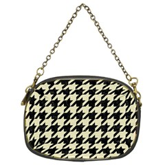 Houndstooth2 Black Marble & Beige Linen Chain Purses (two Sides)  by trendistuff
