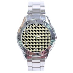 Houndstooth2 Black Marble & Beige Linen Stainless Steel Analogue Watch by trendistuff