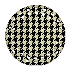 Houndstooth2 Black Marble & Beige Linen Ornament (round Filigree) by trendistuff