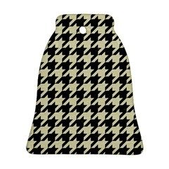 Houndstooth2 Black Marble & Beige Linen Ornament (bell) by trendistuff