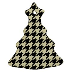 Houndstooth2 Black Marble & Beige Linen Christmas Tree Ornament (two Sides) by trendistuff