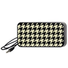Houndstooth2 Black Marble & Beige Linen Portable Speaker (black) by trendistuff