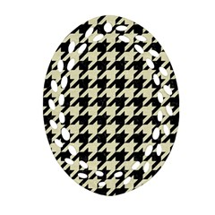 Houndstooth2 Black Marble & Beige Linen Ornament (oval Filigree) by trendistuff
