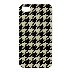 Houndstooth2 Black Marble & Beige Linen Apple Iphone 4/4s Premium Hardshell Case by trendistuff