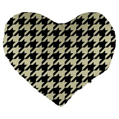 Houndstooth2 Black Marble & Beige Linen Large 19  Premium Heart Shape Cushions by trendistuff