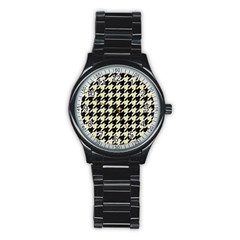 Houndstooth2 Black Marble & Beige Linen Stainless Steel Round Watch by trendistuff