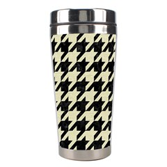Houndstooth2 Black Marble & Beige Linen Stainless Steel Travel Tumblers by trendistuff